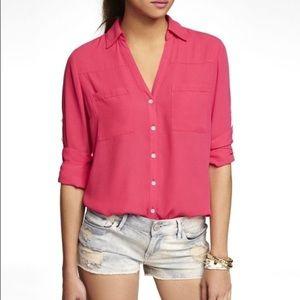 Express Portofino Convertible Sleeve Pink Blouse